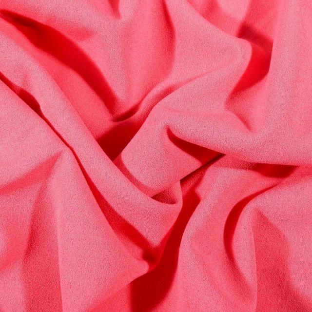 Tissu Crêpe Scuba extensible uni Rose - Par 10 cm