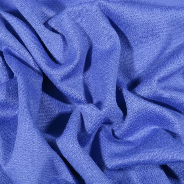 Tissu Jersey Milano uni Bleu cobalt - Par 10 cm