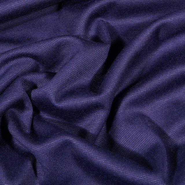 Tissu Jersey Milano uni Bleu foncé - Par 10 cm