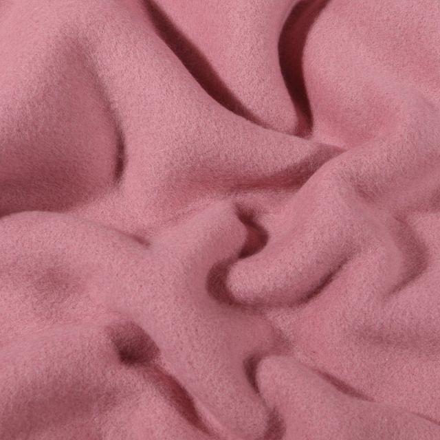 Tissu Polaire Coton uni  Vieux rose - Par 10 cm