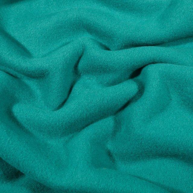 Tissu Polaire Coton uni  Vert émeraude - Par 10 cm