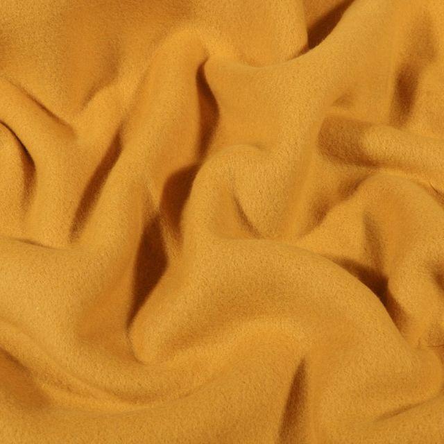Tissu Polaire Coton uni  Jaune moutarde - Par 10 cm