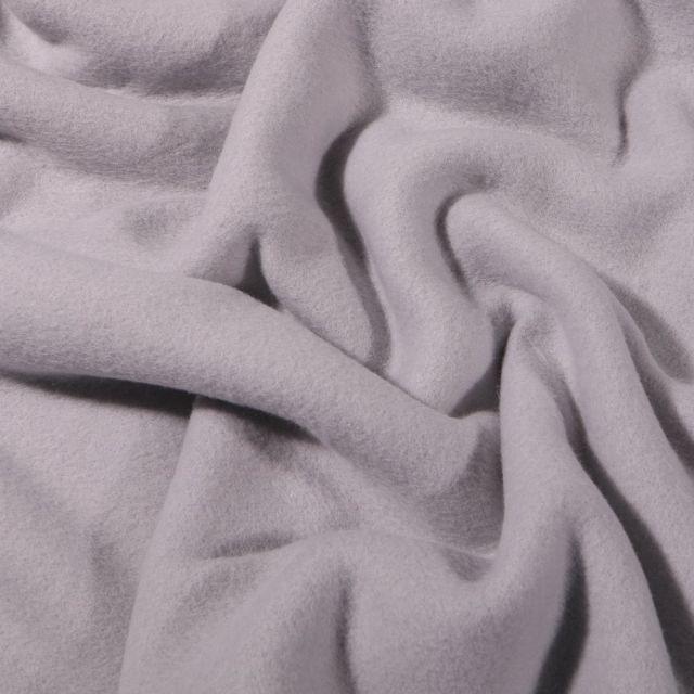 Tissu Polaire Coton uni  Gris clair - Par 10 cm