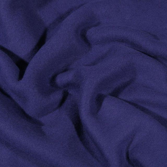 Tissu Polaire Coton uni  Bleu denim - Par 10 cm