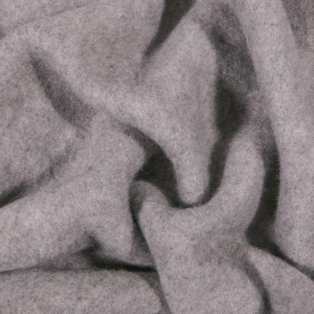 Tissu Polaire Coton uni Gris clair chiné - Par 10 cm