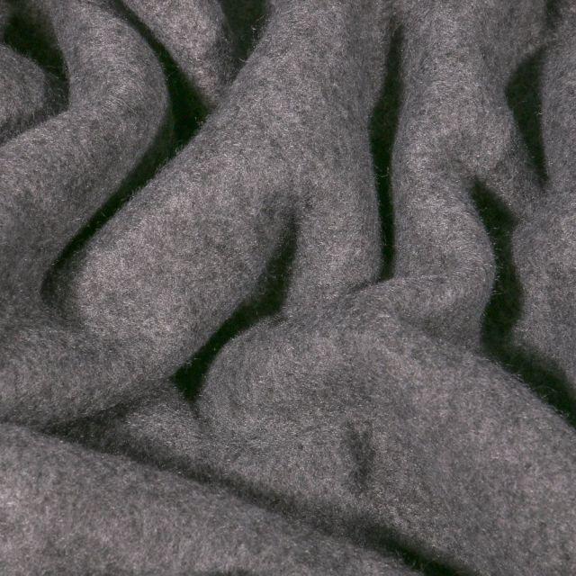 Tissu Polaire Coton uni Gris foncé chiné - Par 10 cm