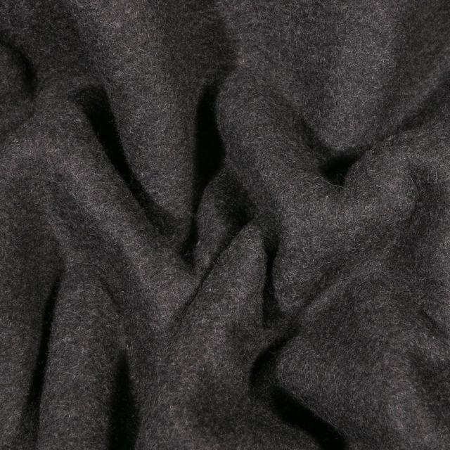 Tissu Polaire Coton uni Gris anthracite chiné - Par 10 cm