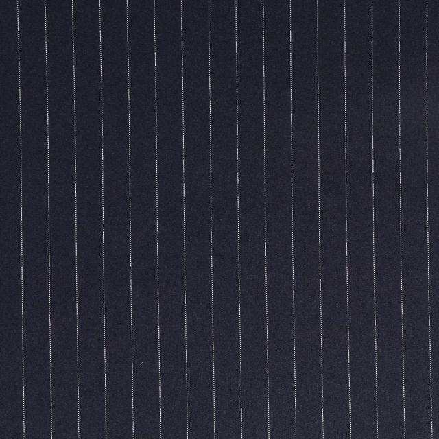 Tissu Gabardine de Viscose Rayures Blanches sur fond Bleu marine - Par 10 cm