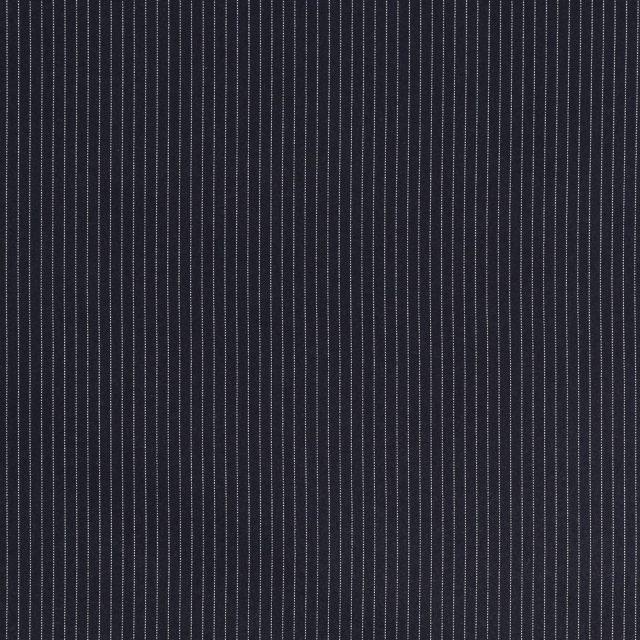 Tissu Gabardine de Viscose Fines Rayures Blanches sur fond Bleu marine - Par 10 cm