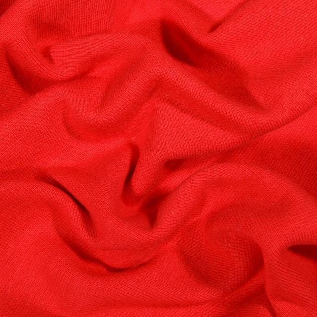 Tissu Bord côte uni Bio Rouge - Par 10 cm