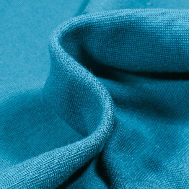 Tissu Bord côte uni Bio Bleu pétrole
