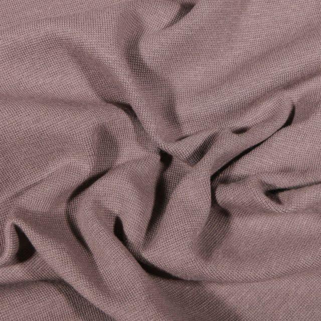 Tissu Bord côte uni Bio Taupe - Par 10 cm