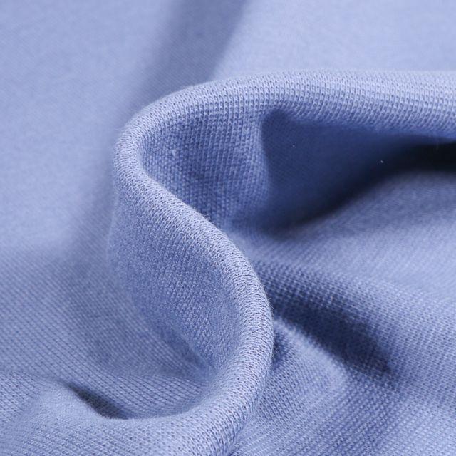 Tissu Bord côte uni Bio Bleu indigo