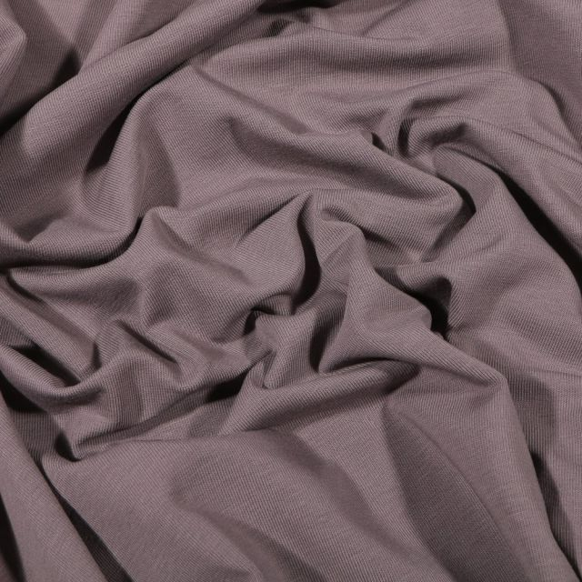 Tissu Jersey Coton Bio uni Taupe - Par 10 cm