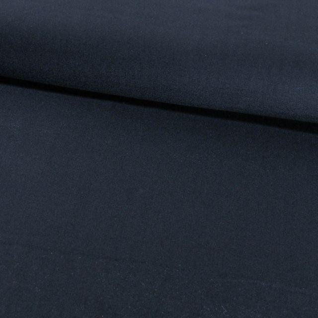 Tissu Gabardine Touché Laine Bleu marine - Par 10 cm