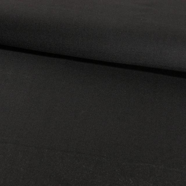 Tissu Gabardine Touché Laine Noir - Par 10 cm