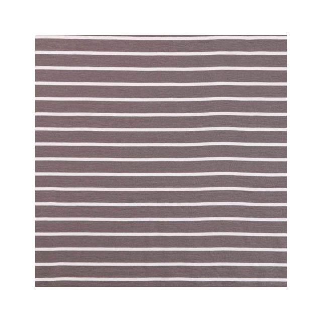 Tissu Jersey Milano Fines rayures marinière Blanches et taupes - Par 10 cm