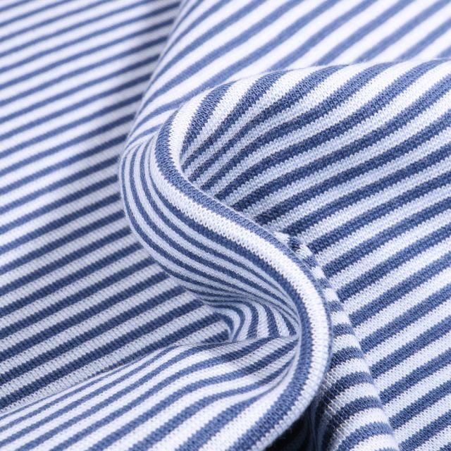 Tissu Bord côte  Rayé bleu sur fond Blanc
