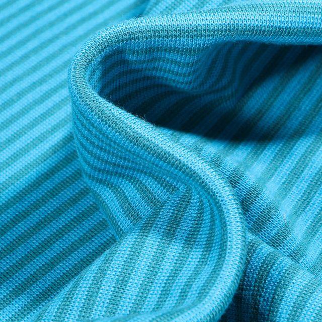 Tissu Bord côte  Rayé vert sur fond Bleu turquoise