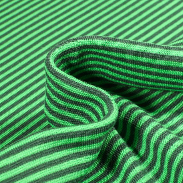 Tissu Bord côte  Rayé foncé sur fond Vert vif