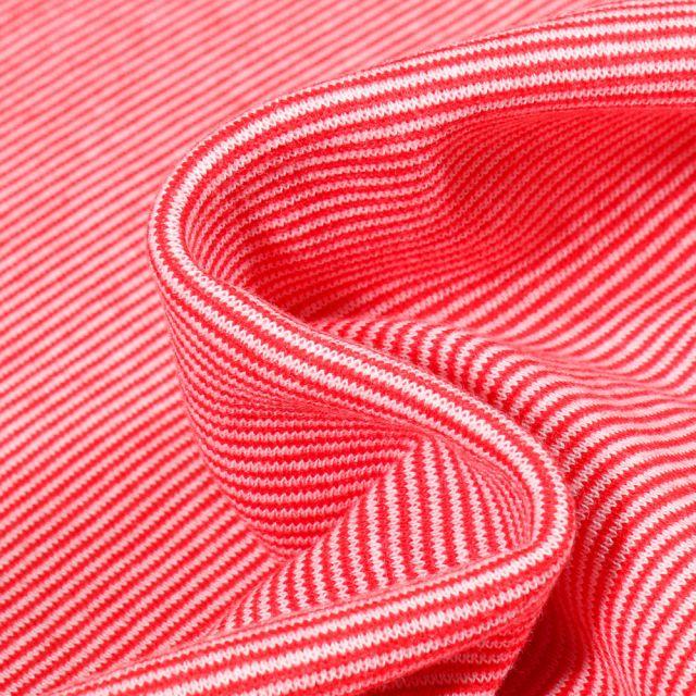 Tissu Bord côte Fines rayures rouge sur fond Blanc