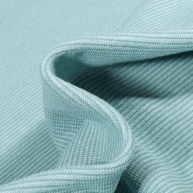 Tissu Bord côte Fines rayures menthe sur fond Vert menthe