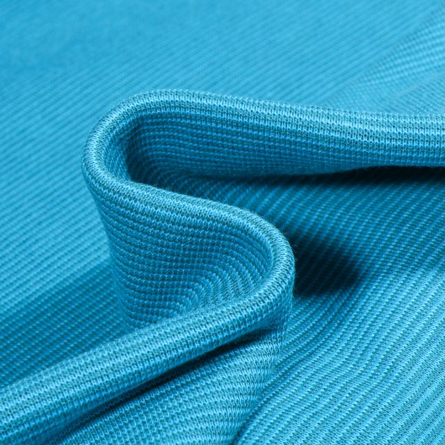 Tissu Bord côte Fines rayures bleu sur fond Bleu turquoise