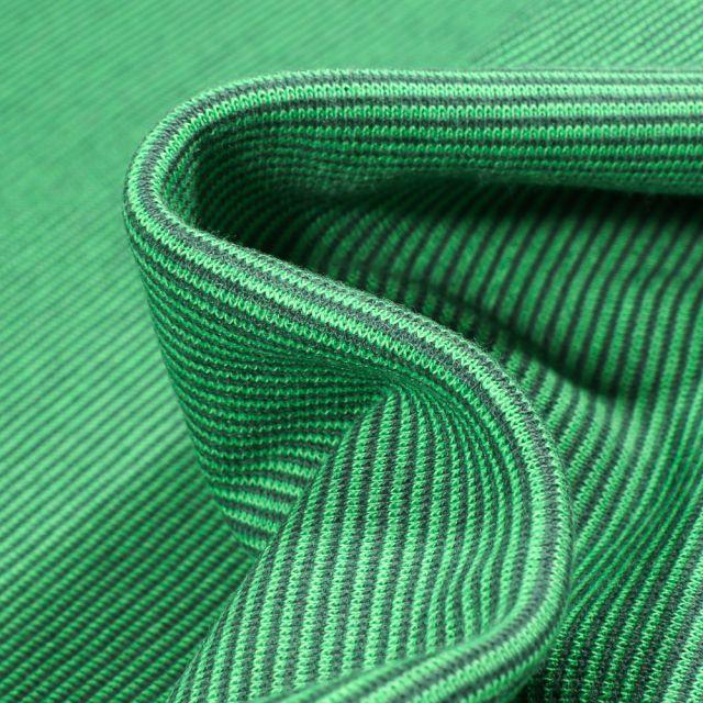 Tissu Bord côte Fines rayures vertes sur fond Vert vif