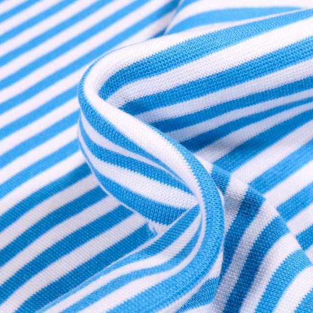 Tissu Bord côte Rayures 5mm turquoise sur fond Blanc