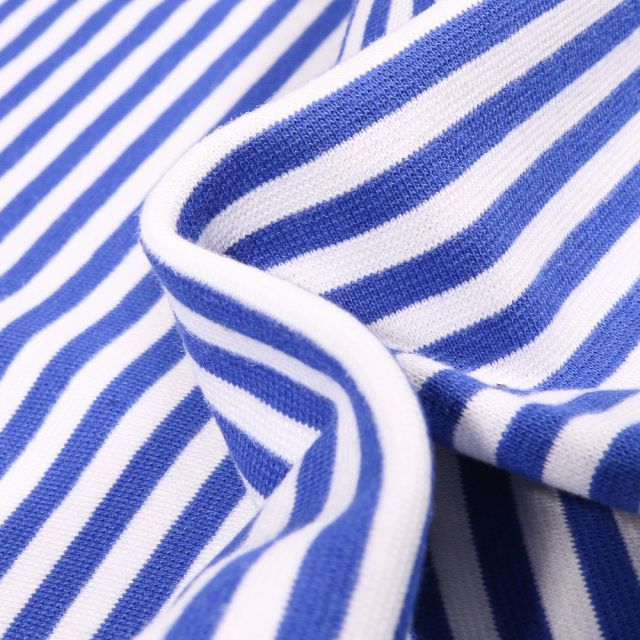 Tissu Bord côte Rayures 5mm bleu roi sur fond Blanc
