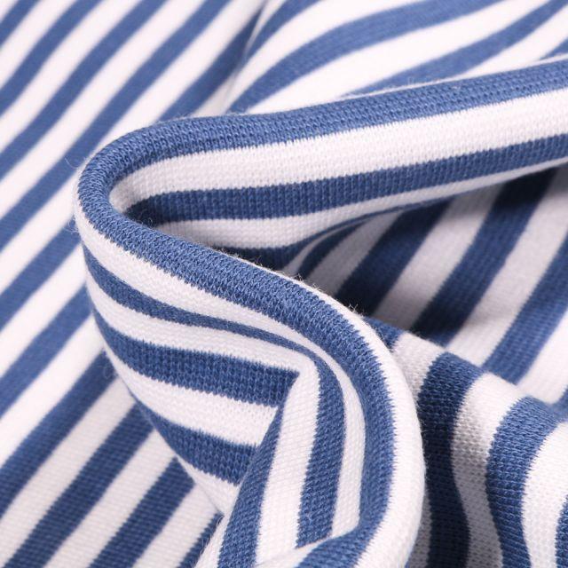 Tissu Bord côte Rayures 5mm denim sur fond Blanc