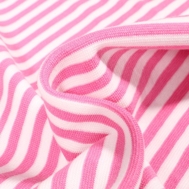 Tissu Bord côte Rayures 5mm rose sur fond Blanc