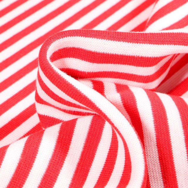 Tissu Bord côte Rayures 5mm rouge sur fond Blanc