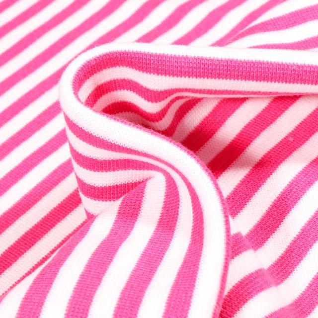Tissu Bord côte Rayures 5mm rose bonbon sur fond Blanc