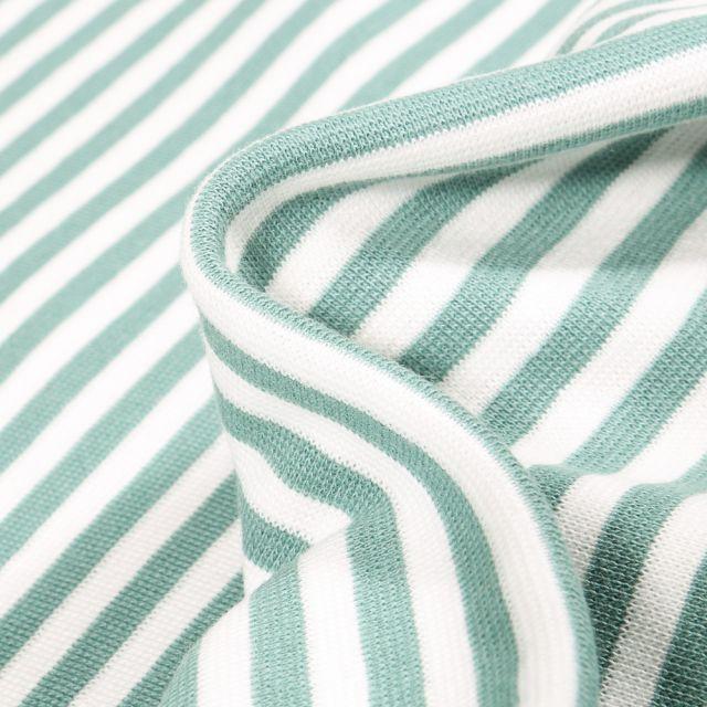 Tissu Bord côte Rayures 5mm menthe sur fond Blanc