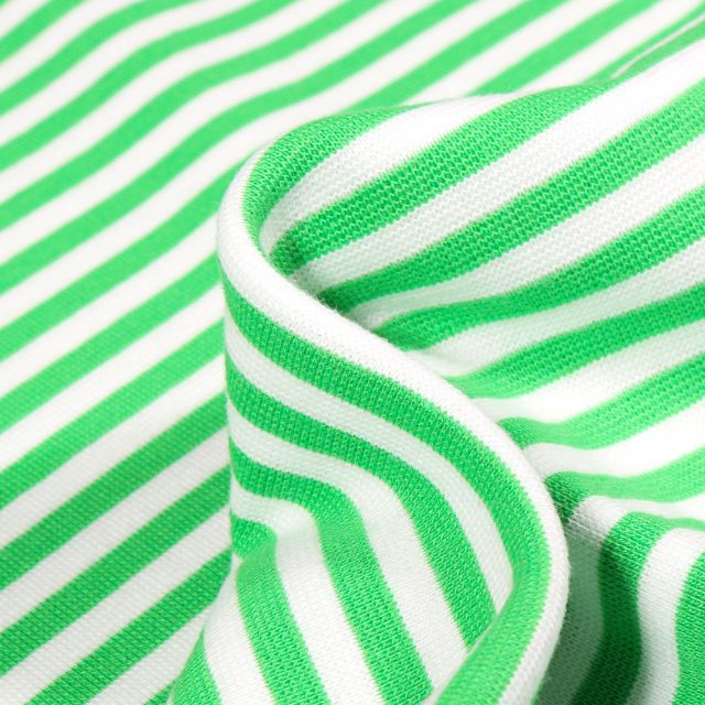 Tissu Bord côte Rayures 5mm vert vif sur fond Blanc