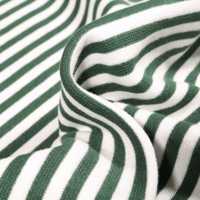 Tissu Bord côte Rayures 5mm vert foncé sur fond Blanc
