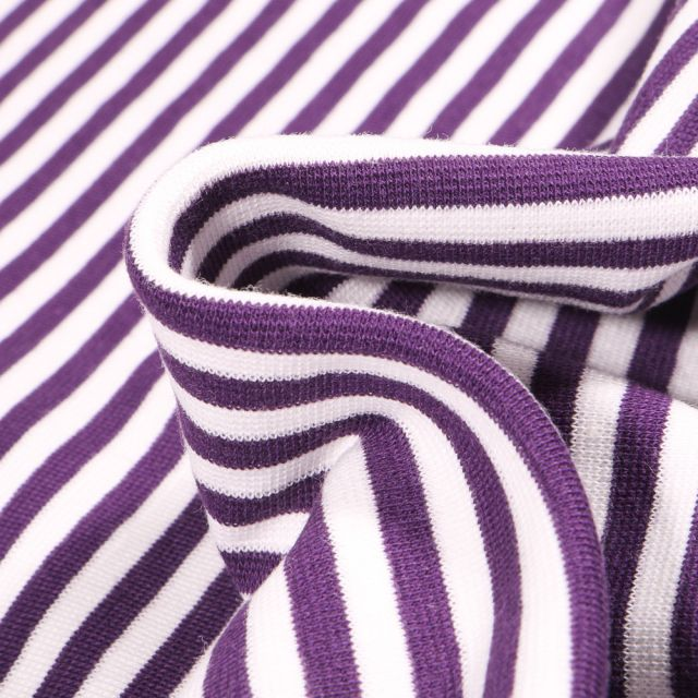 Tissu Bord côte Rayures 5mm violette sur fond Blanc