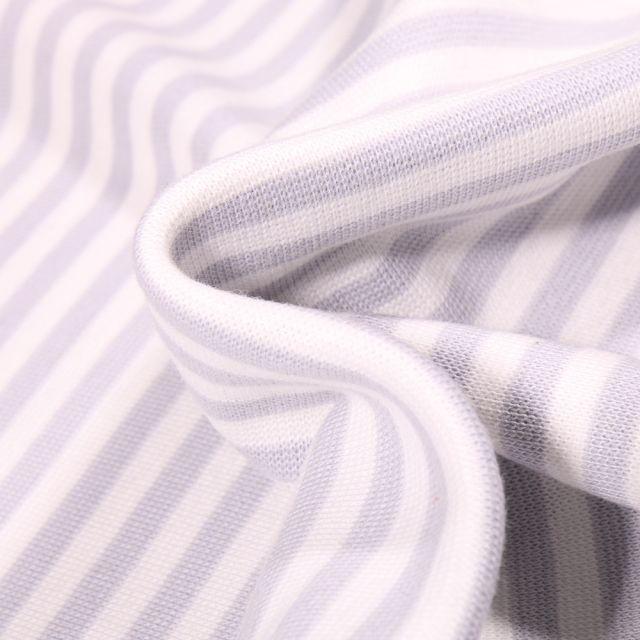 Tissu Bord côte Rayures 5mm grise sur fond Blanc