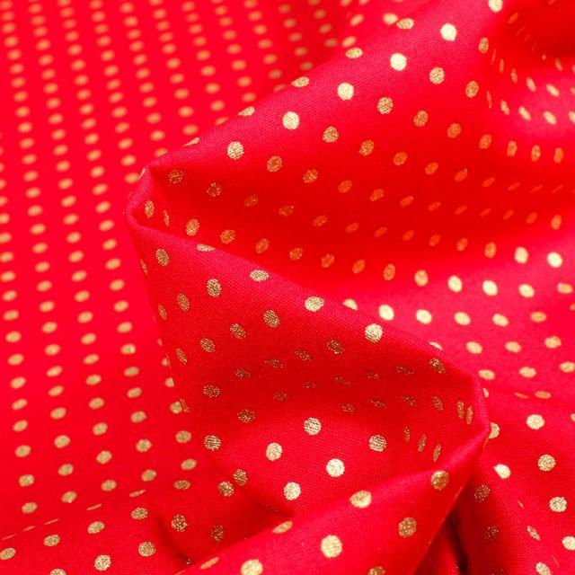 Tissu Coton imprimé Pois dorés sur fond Rouge - Par 10 cm