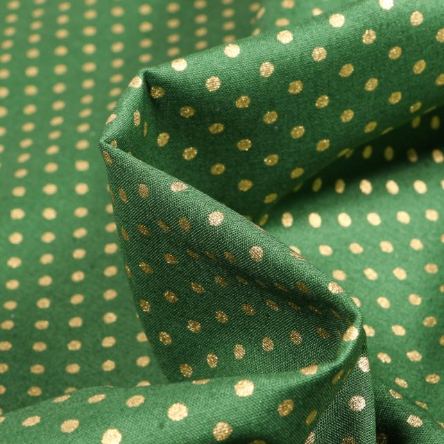 Tissu Coton imprimé Pois dorés sur fond Vert sapin - Par 10 cm