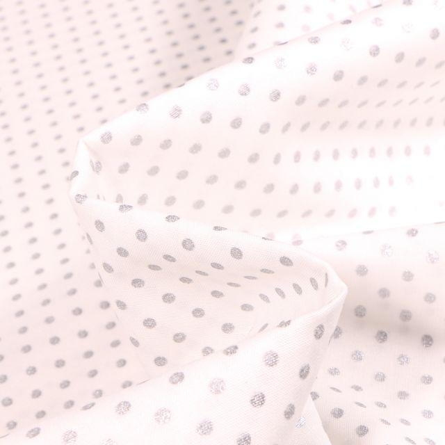 Tissu Coton imprimé Mini pois argentés 3 mm sur fond Blanc