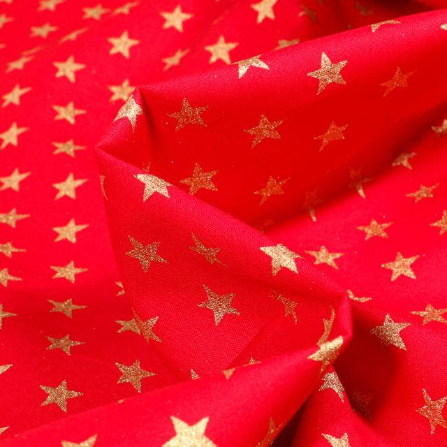 Tissu Coton imprimé Etoiles sur fond Rouge - Par 10 cm