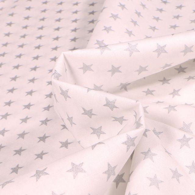 Tissu Coton imprimé Etoiles argentées 1 cm sur fond Blanc