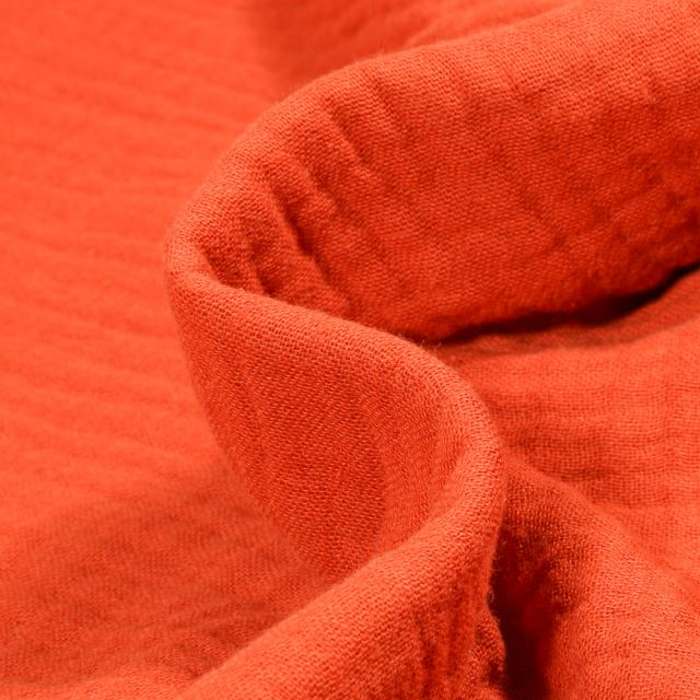 Tissu Triple gaze de coton Orange