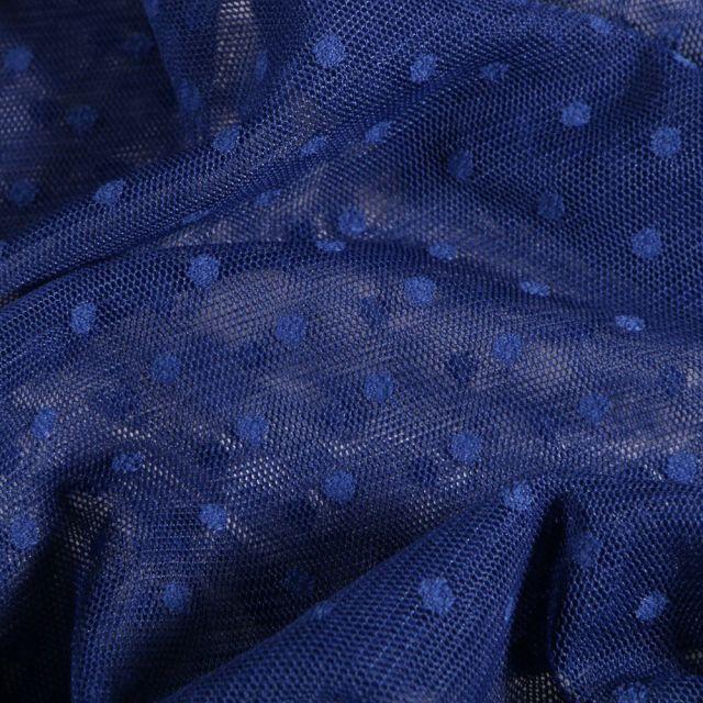 Tissu Tulle Souple Plumetis Bleu roi - Par 10 cm