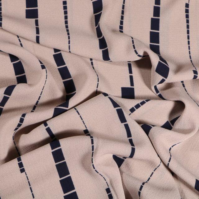 Tissu Crêpe georgette Motif géométrique Taupe - Par 10 cm
