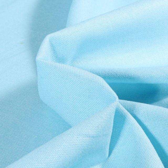 Tissu Viscose Lin uni Bleu ciel