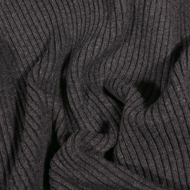 Tissu Bord côte Côtelé Gris anthracite - Par 10 cm