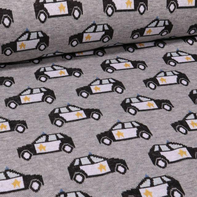 Tissu Sweat Maille Police sur fond Gris chiné - Par 10 cm